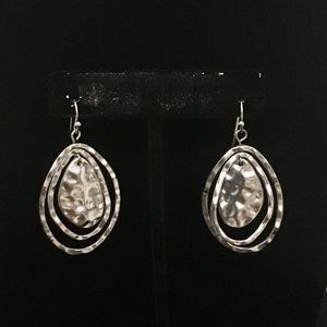 Hammered Silver Tone Earrings